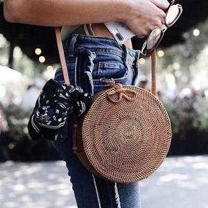Handbags - 🆕Charlee Round Rattan Straw Crossbody Handbag